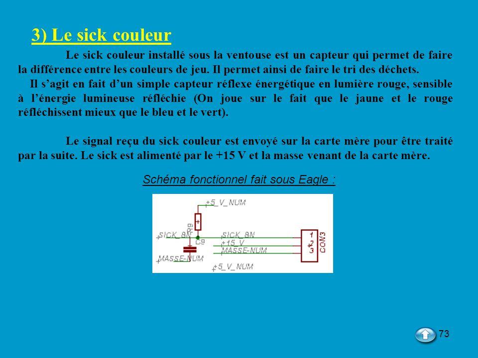 73 3) Le sick couleur Le sick couleur installé sous la ventouse est un capteur qui permet de faire la différence entre les couleurs de jeu. Il permet