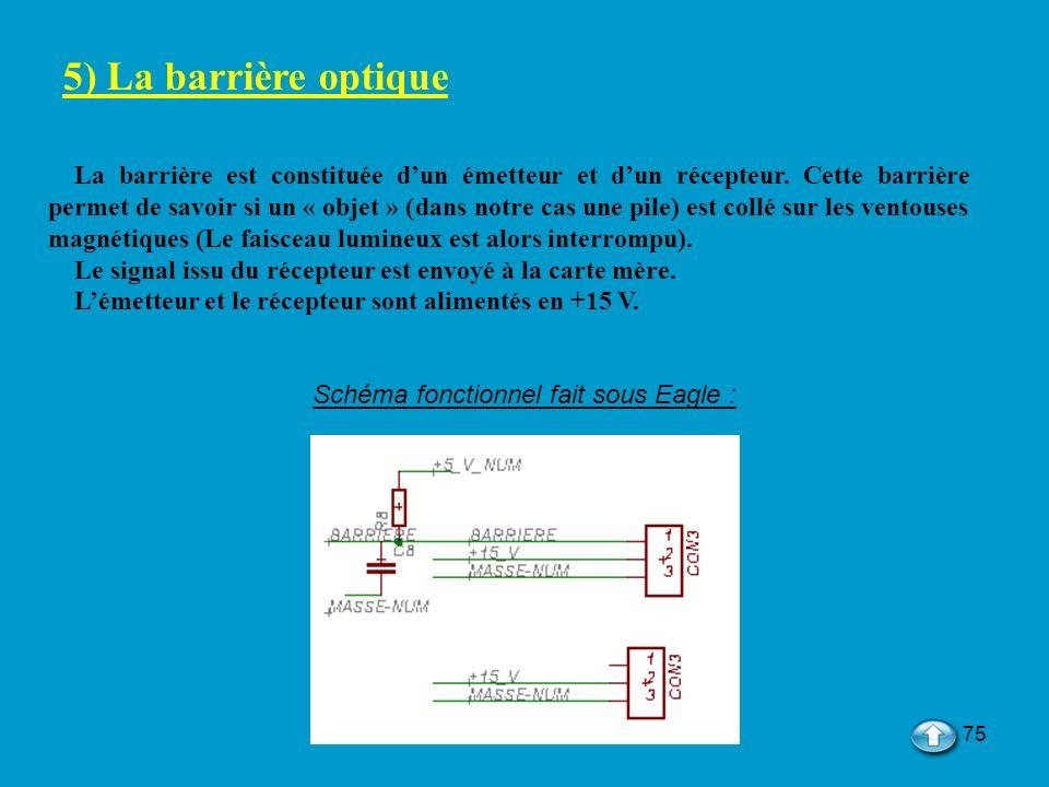 75 5) La barrière optique La barrière est constituée dun émetteur et dun récepteur. Cette barrière permet de savoir si un « objet » (dans notre cas un