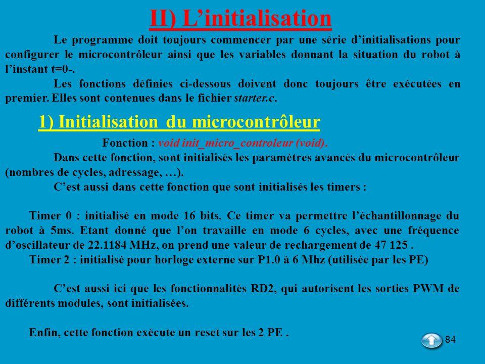 84 II) Linitialisation Le programme doit toujours commencer par une série dinitialisations pour configurer le microcontrôleur ainsi que les variables