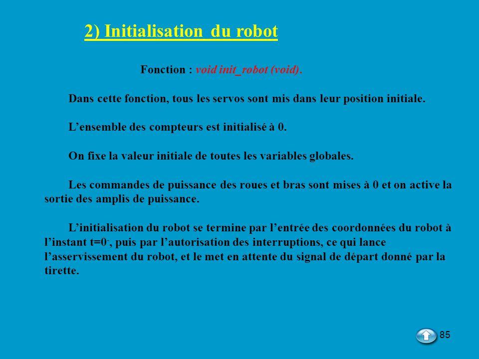 85 2) Initialisation du robot Fonction : void init_robot (void). Dans cette fonction, tous les servos sont mis dans leur position initiale. Lensemble