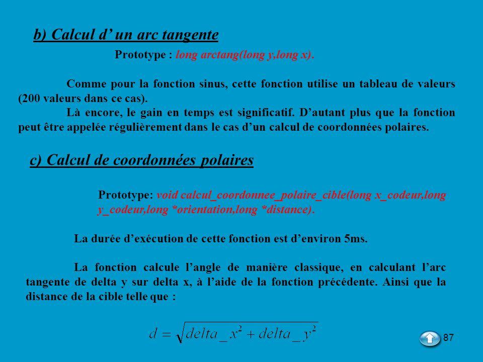 87 b) Calcul d un arc tangente Prototype : long arctang(long y,long x). Comme pour la fonction sinus, cette fonction utilise un tableau de valeurs (20
