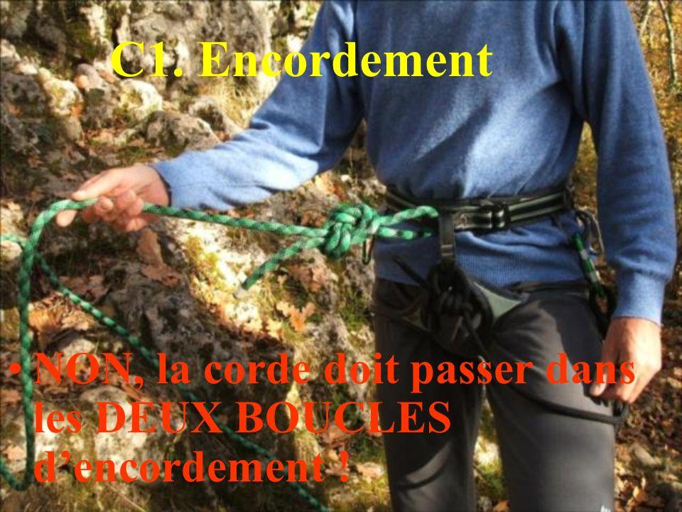 C1. Encordement NON, la corde doit passer dans les DEUX BOUCLES dencordement !