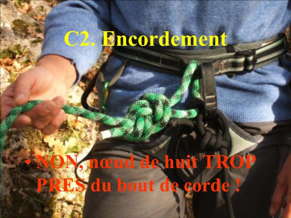 C2. Encordement NON, nœud de huit TROP PRES du bout de corde !