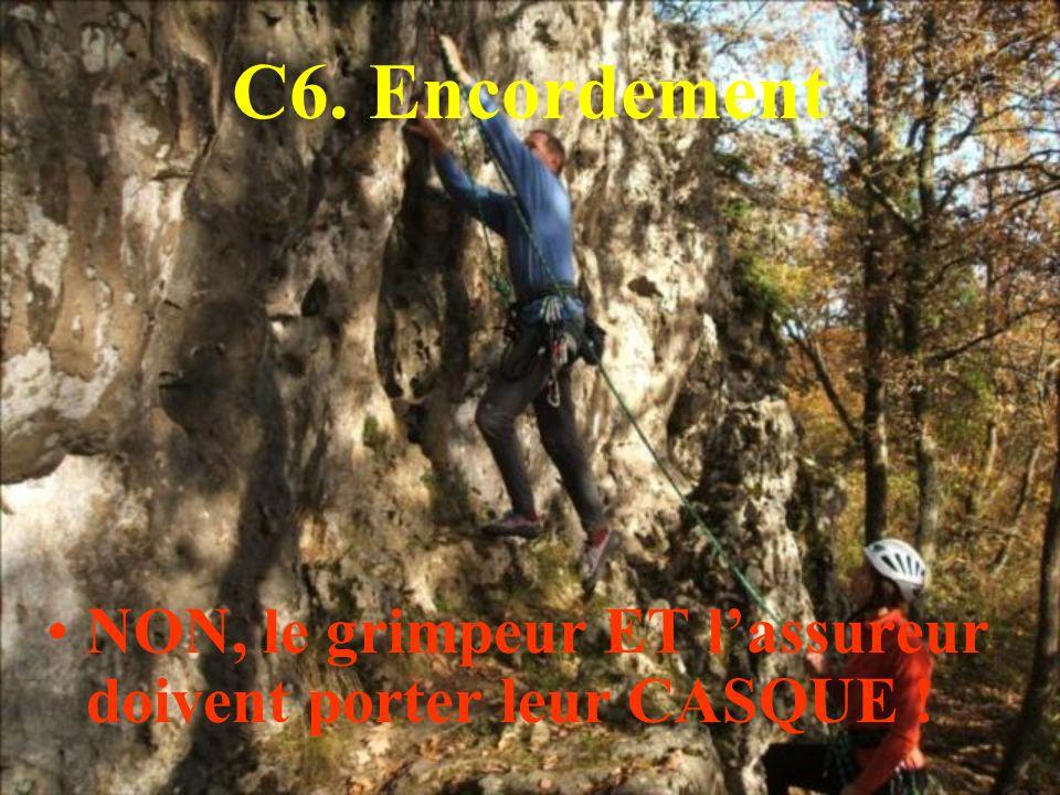 C6. Encordement NON, le grimpeur ET lassureur doivent porter leur CASQUE !