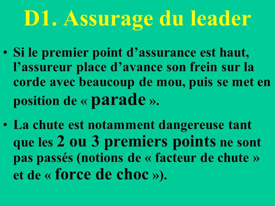 D1. Assurage du leader Si le premier point dassurance est haut, lassureur place davance son frein sur la corde avec beaucoup de mou, puis se met en po