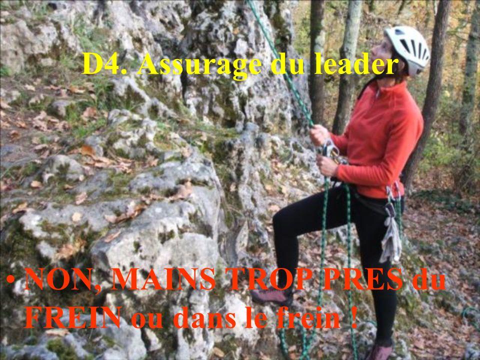 D4. Assurage du leader NON, MAINS TROP PRES du FREIN ou dans le frein !