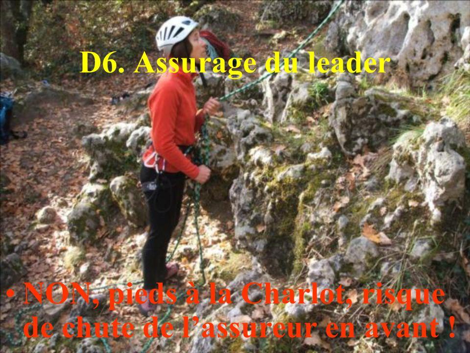 NON, pieds à la Charlot, risque de chute de lassureur en avant !