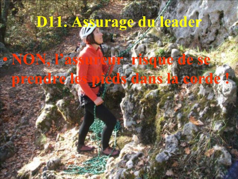 D11. Assurage du leader NON, lassureur risque de se prendre les pieds dans la corde !
