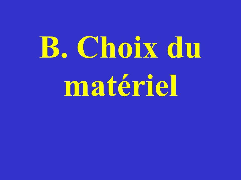 B1.Choix du matériel Nutilisons pas un MATÉRIEL NOUVEAU sans lessayer auparavant.