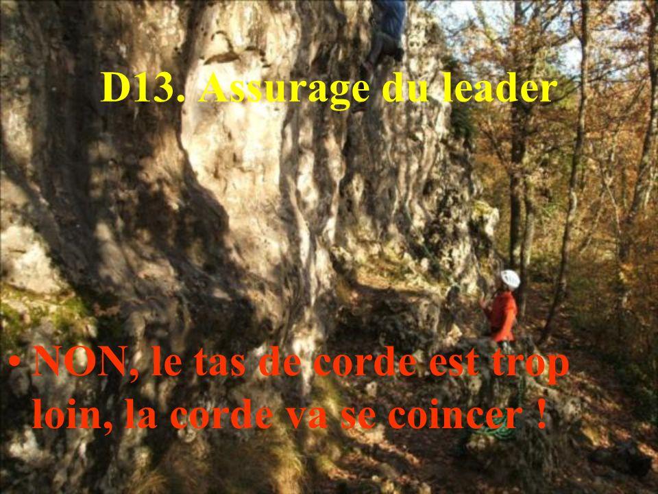D13. Assurage du leader NON, le tas de corde est trop loin, la corde va se coincer !
