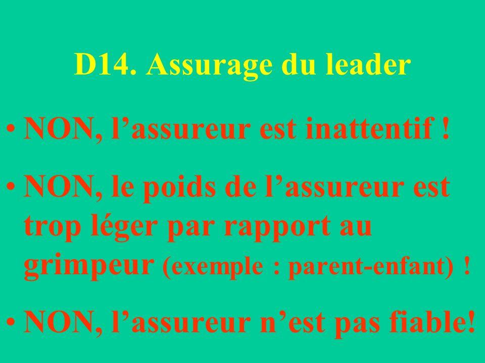 D14. Assurage du leader NON, lassureur est inattentif ! NON, le poids de lassureur est trop léger par rapport au grimpeur (exemple : parent-enfant) !