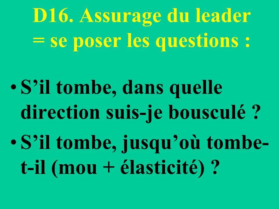 D16. Assurage du leader = se poser les questions : Sil tombe, dans quelle direction suis-je bousculé ? Sil tombe, jusquoù tombe- t-il (mou + élasticit