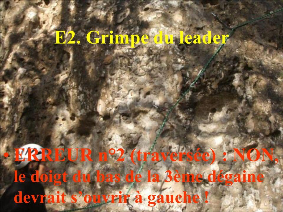 E2. Grimpe du leader ERREUR n°2 (traversée) : NON, le doigt du bas de la 3ème dégaine devrait souvrir à gauche !