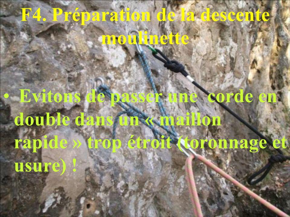 F4. Préparation de la descente moulinette Evitons de passer une corde en double dans un « maillon rapide » trop étroit (toronnage et usure) !