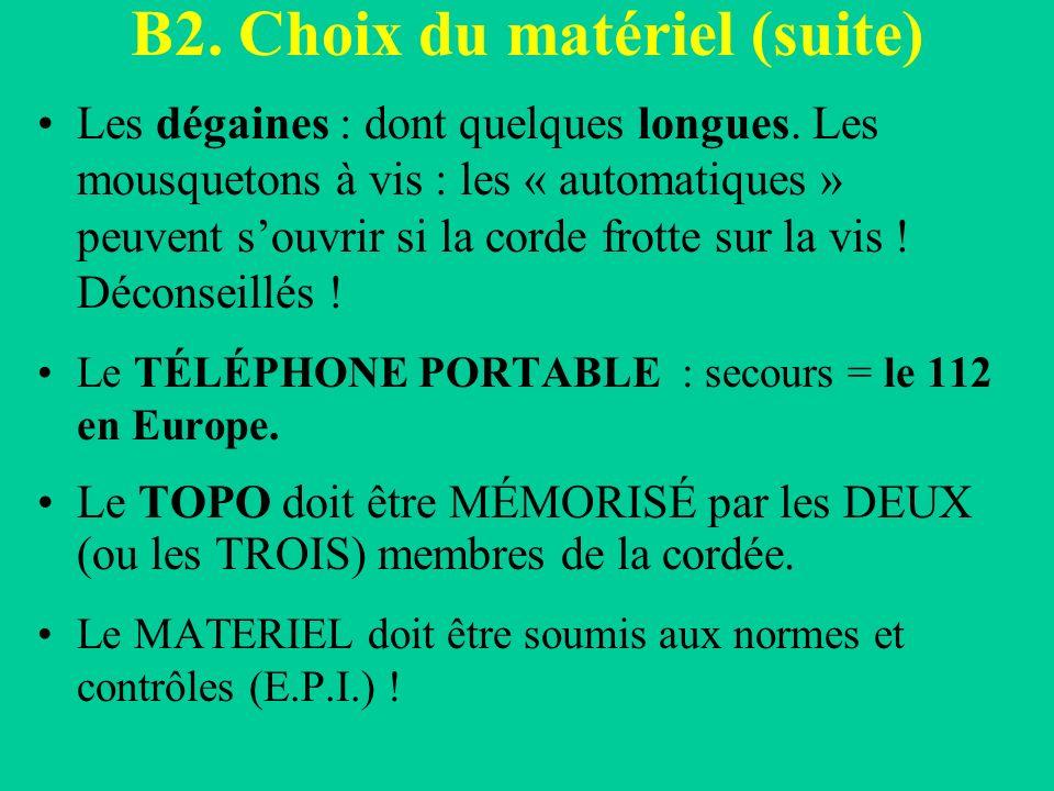 B2.Choix du matériel (suite) Les dégaines : dont quelques longues.
