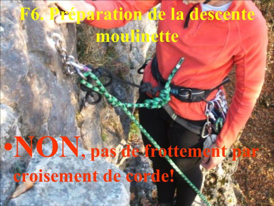 F6. Préparation de la descente moulinette NON, pas de frottement par croisement de corde!