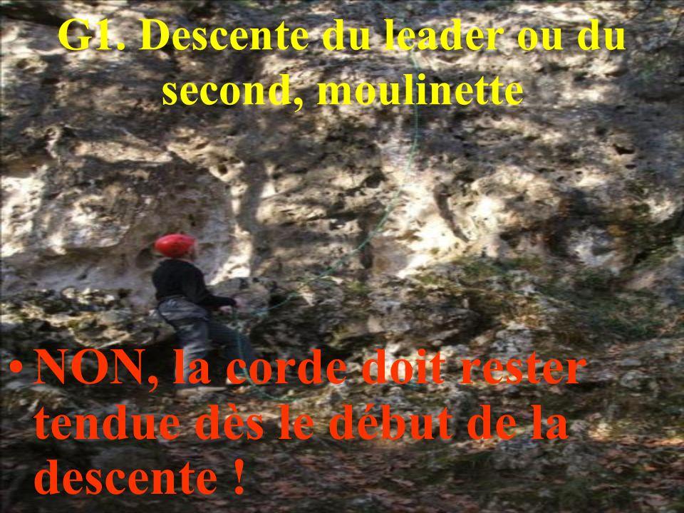 G1. Descente du leader ou du second, moulinette NON, la corde doit rester tendue dès le début de la descente !