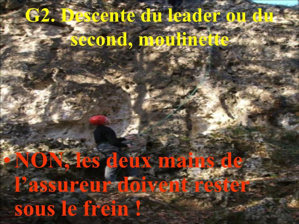 G2. Descente du leader ou du second, moulinette NON, les deux mains de lassureur doivent rester sous le frein !