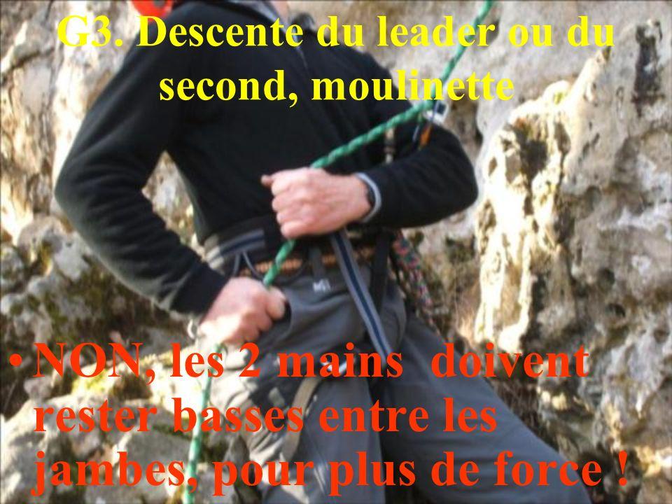 G3. Descente du leader ou du second, moulinette NON, les 2 mains doivent rester basses entre les jambes, pour plus de force !