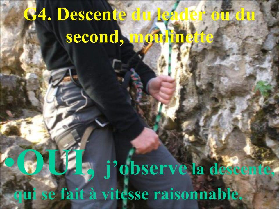 G4. Descente du leader ou du second, moulinette OUI, jobserve la descente, qui se fait à vitesse raisonnable.