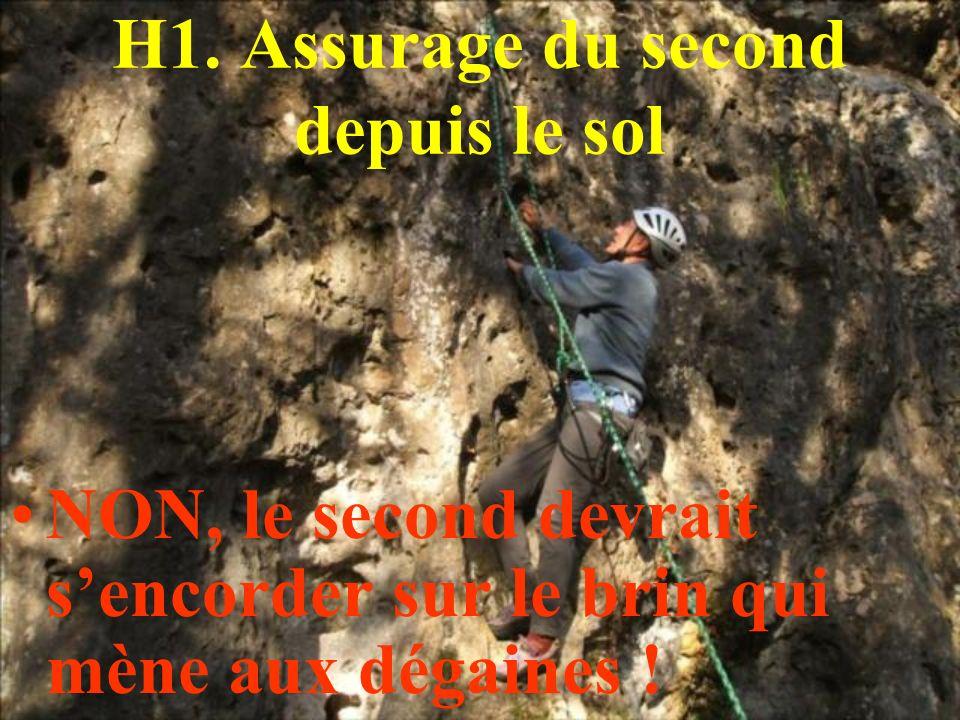H1. Assurage du second depuis le sol NON, le second devrait sencorder sur le brin qui mène aux dégaines !