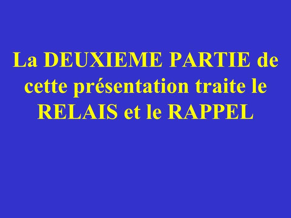 La DEUXIEME PARTIE de cette présentation traite le RELAIS et le RAPPEL