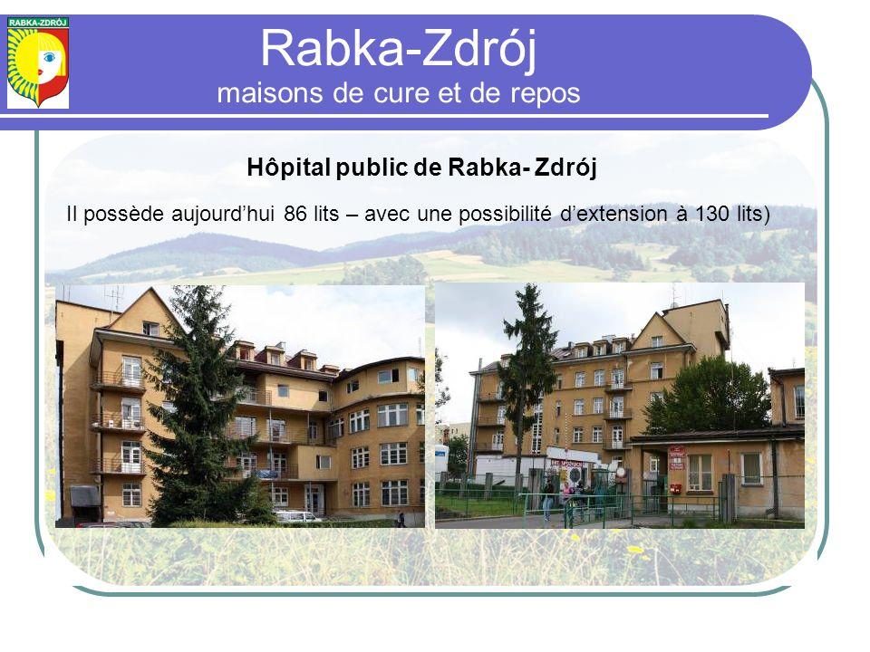 Hôpital public de Rabka- Zdrój Il possède aujourdhui 86 lits – avec une possibilité dextension à 130 lits) Rabka-Zdrój maisons de cure et de repos