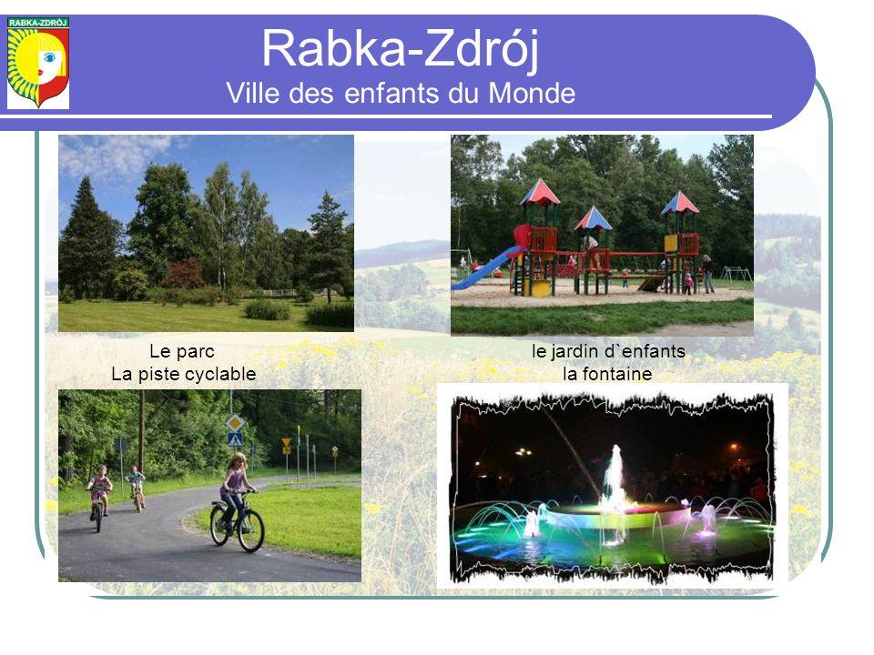 Le parc le jardin d`enfants La piste cyclable la fontaine Rabka-Zdrój Ville des enfants du Monde