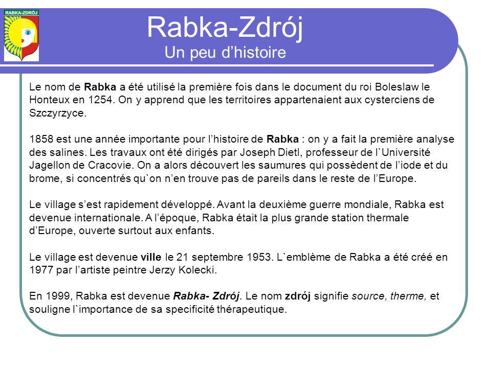 Le nom de Rabka a été utilisé la première fois dans le document du roi Boleslaw le Honteux en 1254.