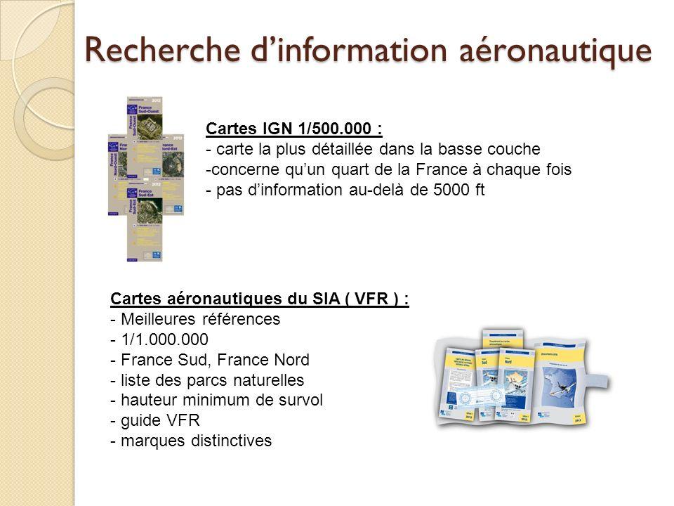 Recherche dinformation aéronautique Cartes IGN 1/500.000 : - carte la plus détaillée dans la basse couche -concerne quun quart de la France à chaque f