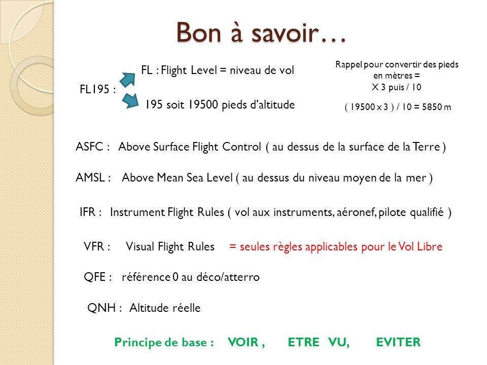 Bon à savoir… FL : Flight Level = niveau de vol 195 soit 19500 pieds daltitude FL195 : Rappel pour convertir des pieds en mètres = X 3 puis / 10 ( 195