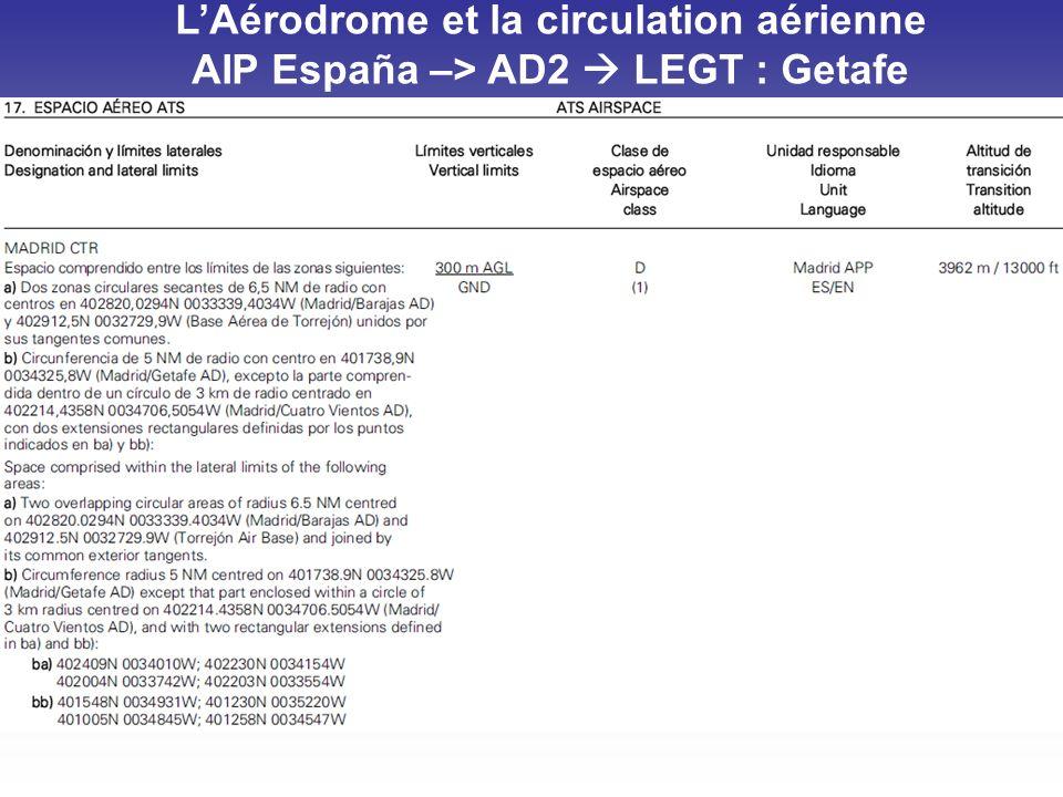 LAérodrome et la circulation aérienne AIP España –> AD2 LEGT : Getafe