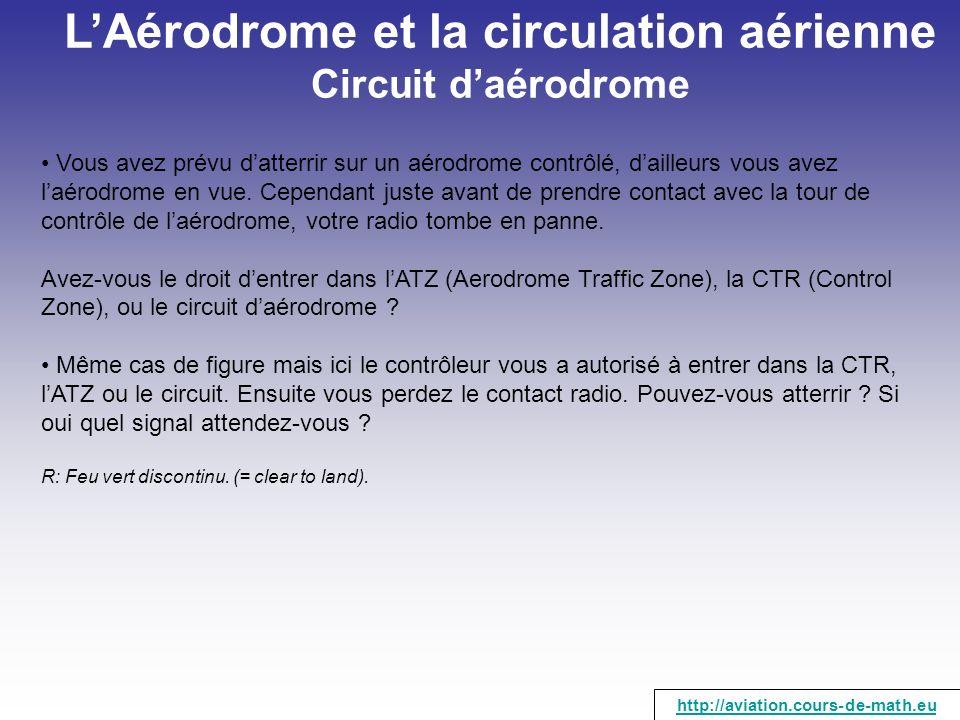LAérodrome et la circulation aérienne Circuit daérodrome Vous avez prévu datterrir sur un aérodrome contrôlé, dailleurs vous avez laérodrome en vue. C