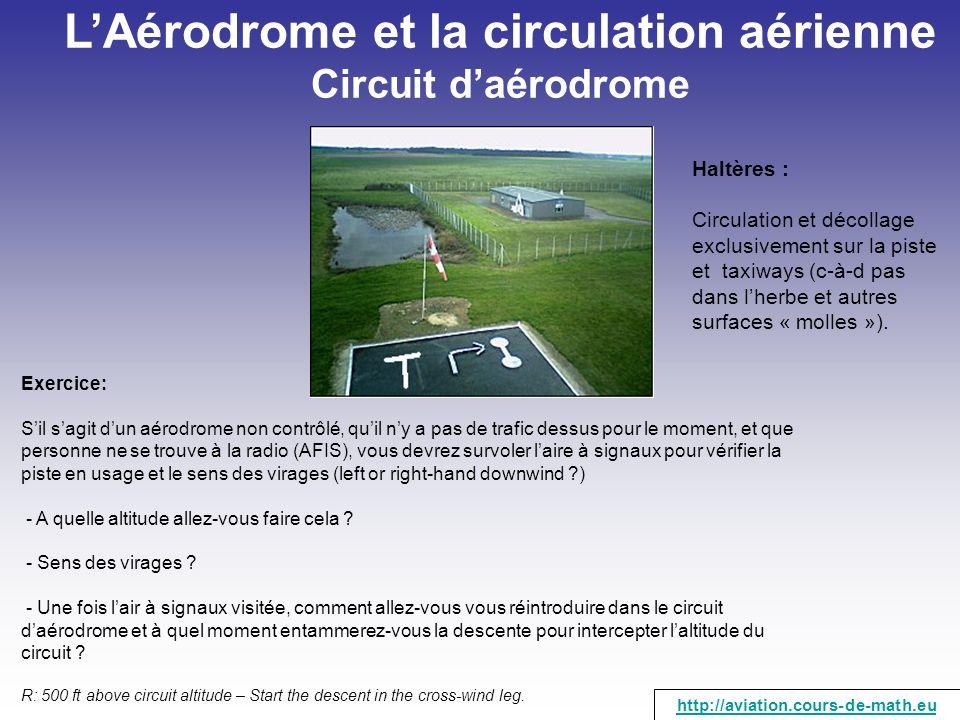 LAérodrome et la circulation aérienne Circuit daérodrome Exercice: Sil sagit dun aérodrome non contrôlé, quil ny a pas de trafic dessus pour le moment