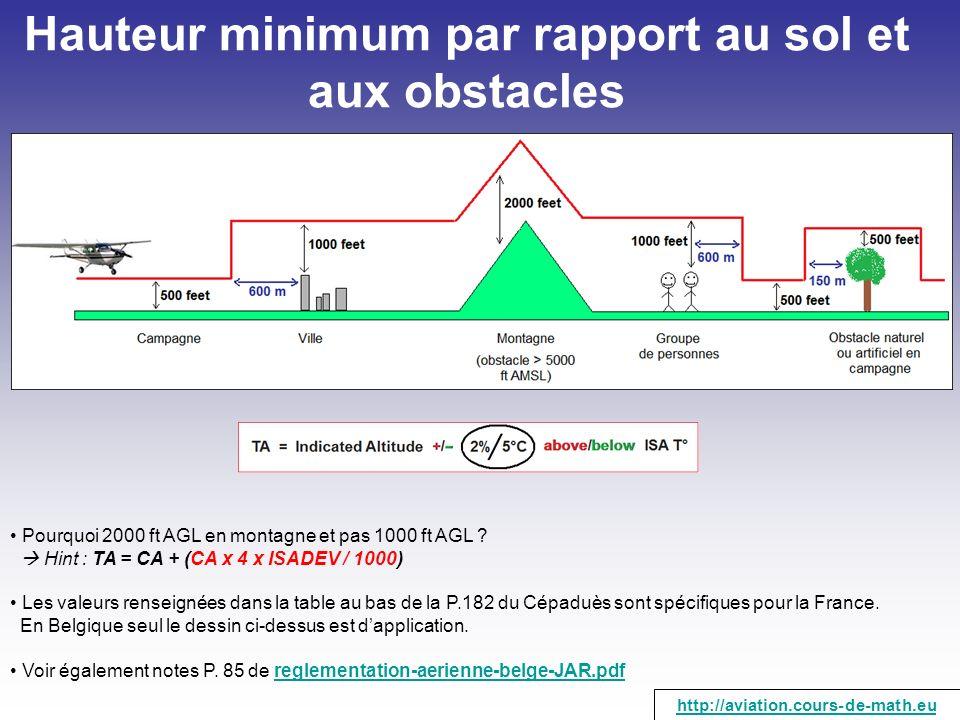 Pourquoi 2000 ft AGL en montagne et pas 1000 ft AGL ? Hint : TA = CA + (CA x 4 x ISADEV / 1000) Les valeurs renseignées dans la table au bas de la P.1