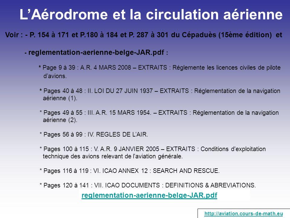 LAérodrome et la circulation aérienne Voir : - P. 154 à 171 et P.180 à 184 et P. 287 à 301 du Cépaduès (15ème édition) et - reglementation-aerienne-be