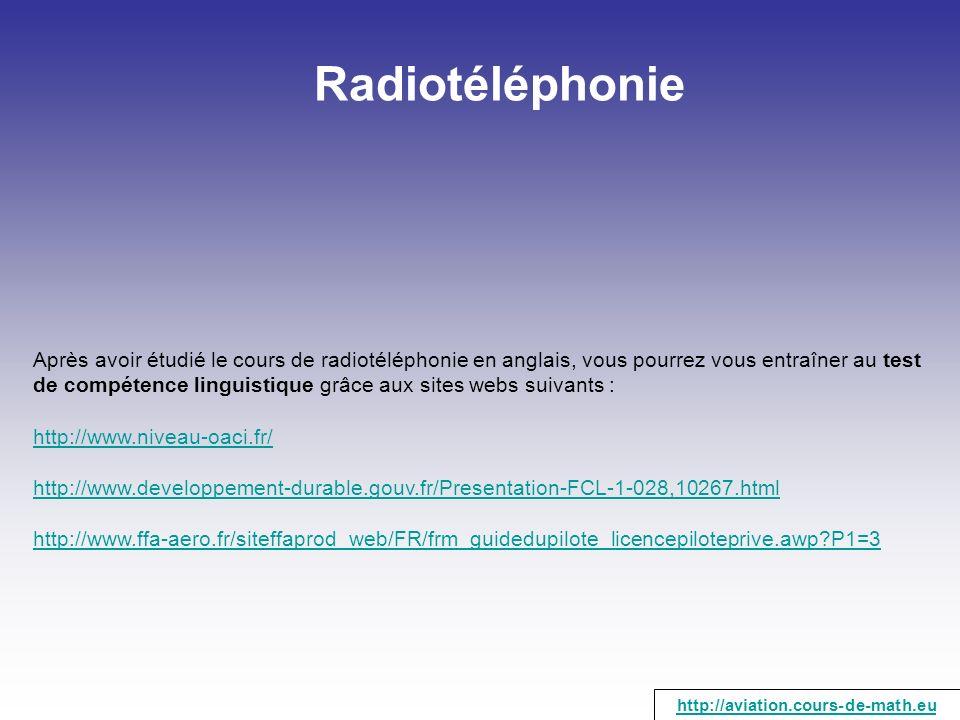 Radiotéléphonie Après avoir étudié le cours de radiotéléphonie en anglais, vous pourrez vous entraîner au test de compétence linguistique grâce aux si