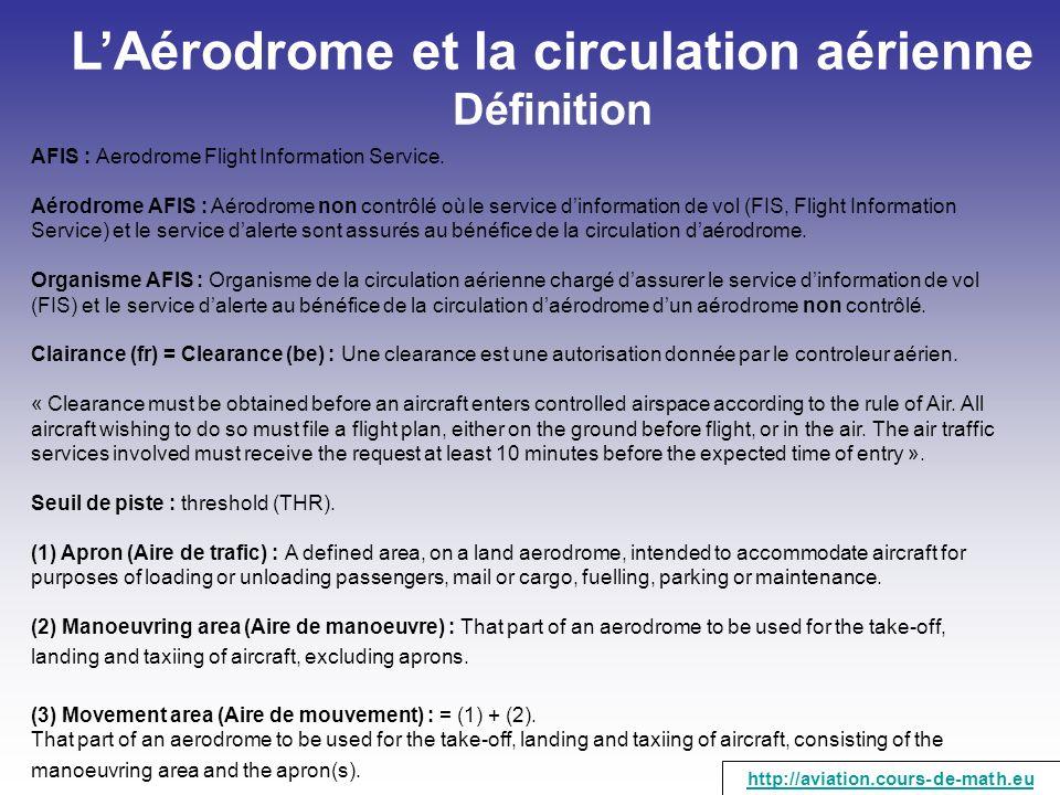 LAérodrome et la circulation aérienne Définition AFIS : Aerodrome Flight Information Service. Aérodrome AFIS : Aérodrome non contrôlé où le service di