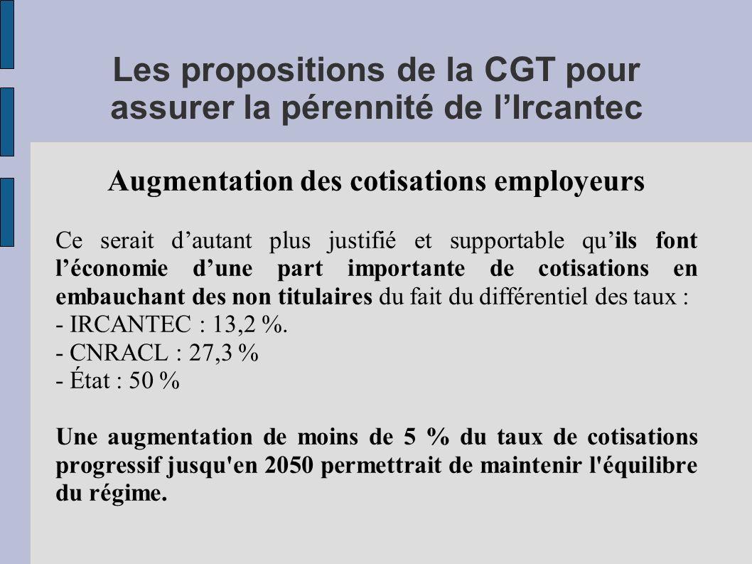 Les propositions de la CGT pour assurer la pérennité de lIrcantec Augmentation des cotisations employeurs Ce serait dautant plus justifié et supportab