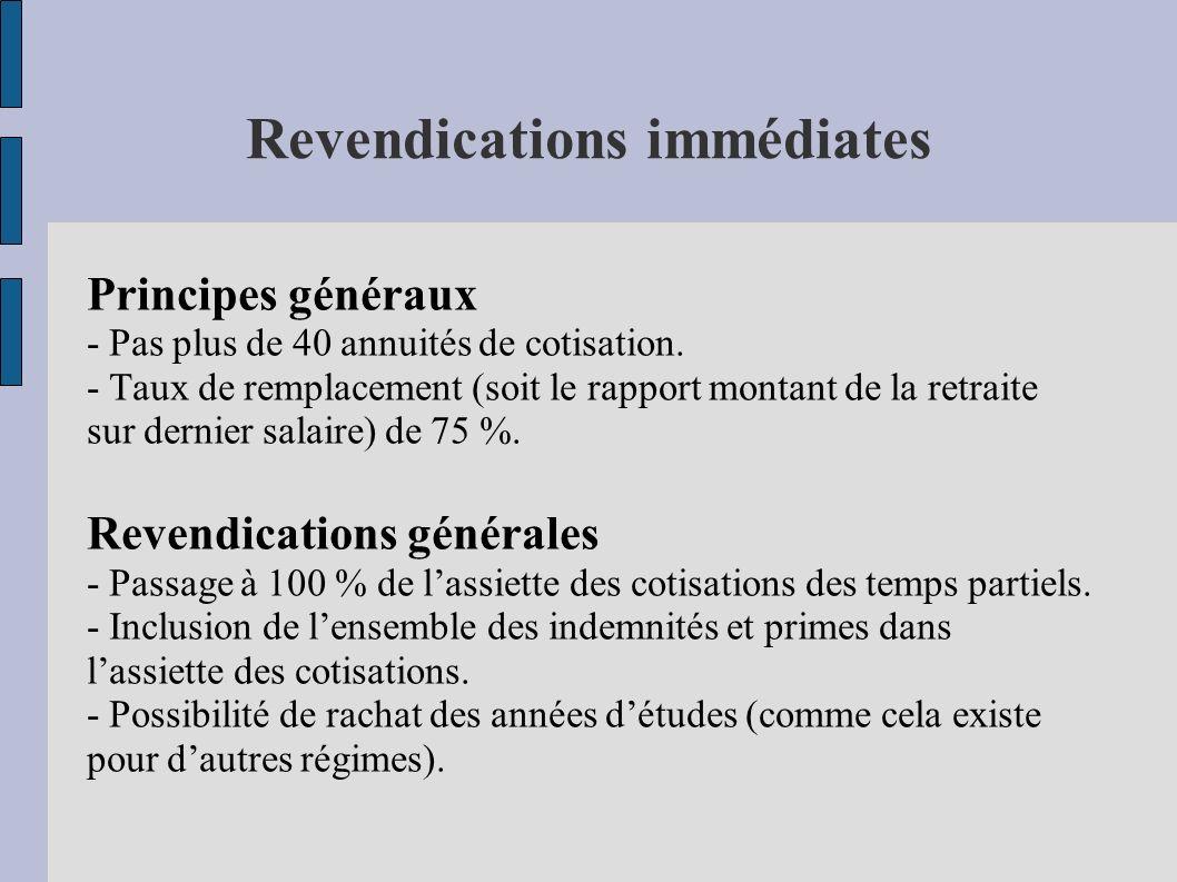 Revendications immédiates Principes généraux - Pas plus de 40 annuités de cotisation. - Taux de remplacement (soit le rapport montant de la retraite s