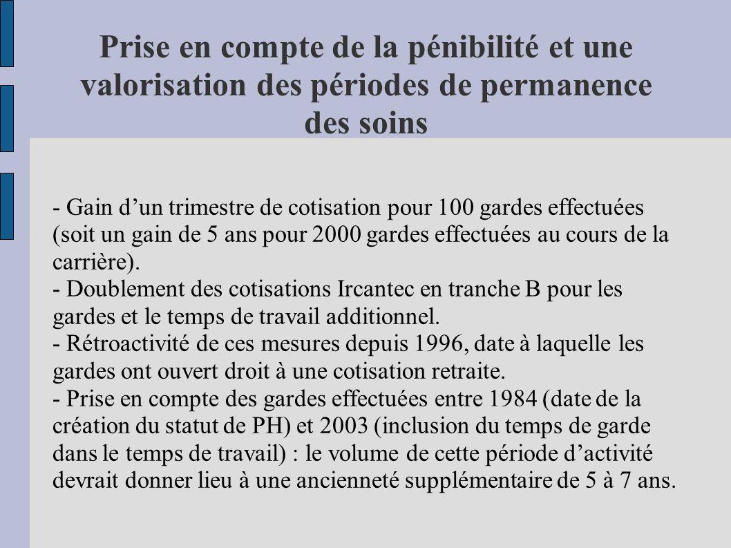 Prise en compte de la pénibilité et une valorisation des périodes de permanence des soins - Gain dun trimestre de cotisation pour 100 gardes effectuée