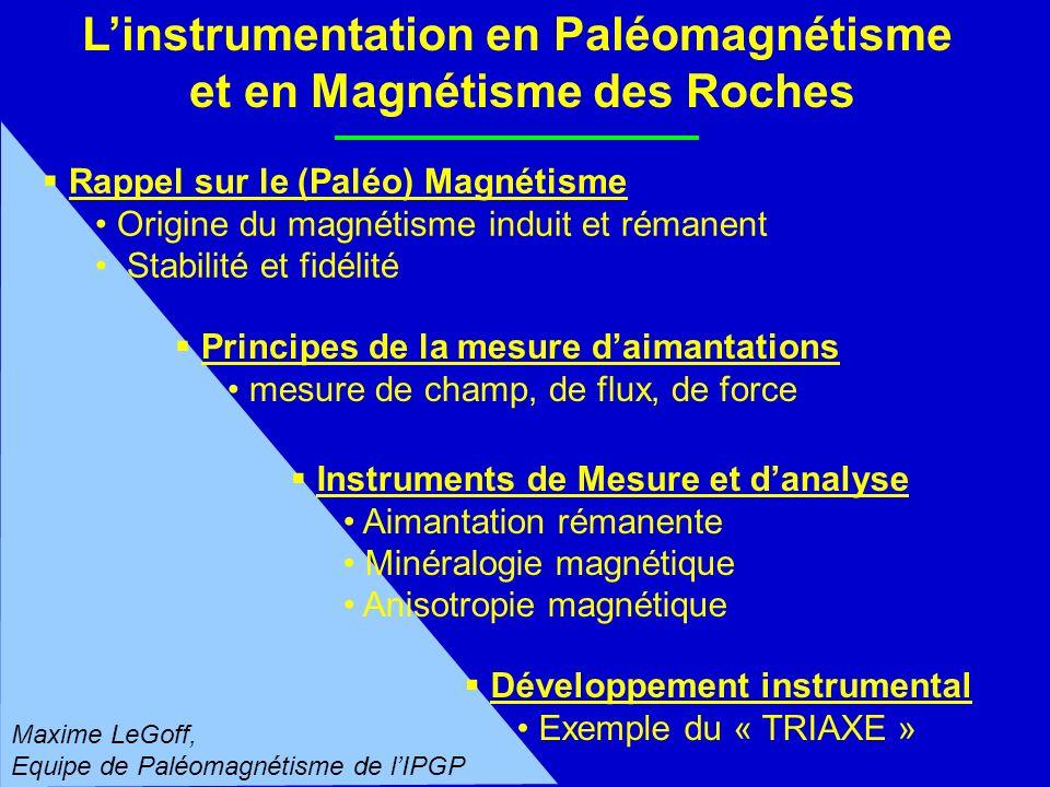 Linstrumentation en Paléomagnétisme et en Magnétisme des Roches Rappel sur le (Paléo) Magnétisme Origine du magnétisme induit et rémanent Stabilité et