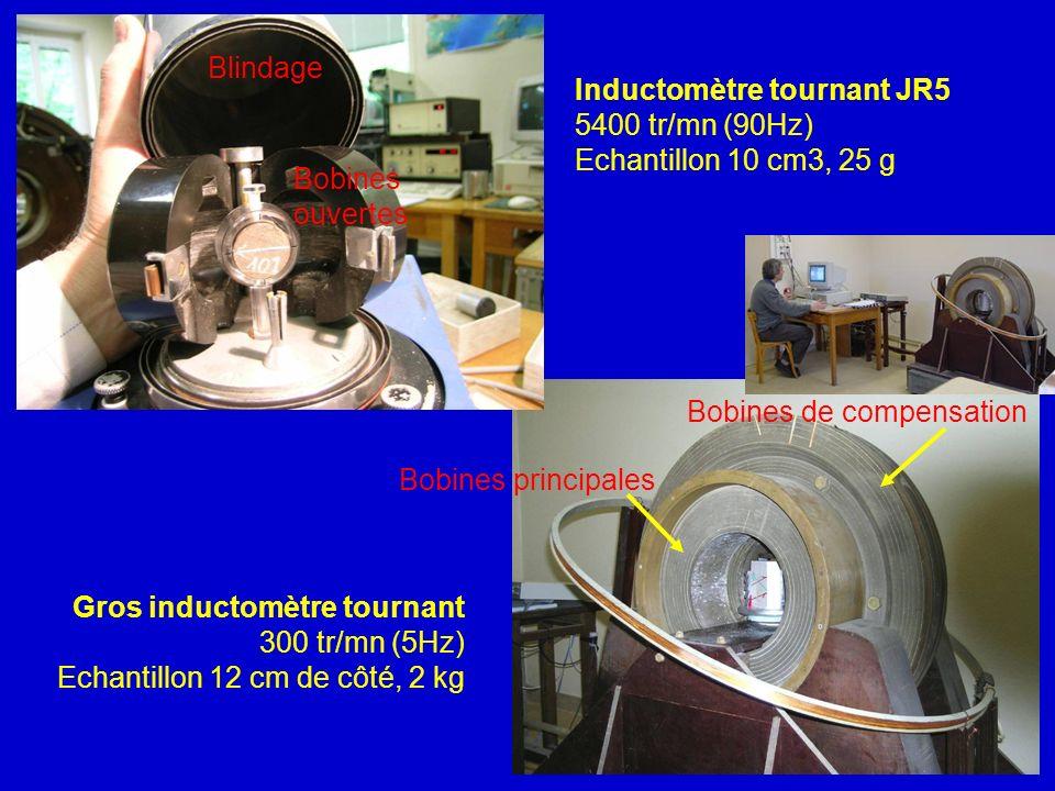Bobines principales Bobines de compensation Gros inductomètre tournant 300 tr/mn (5Hz) Echantillon 12 cm de côté, 2 kg Inductomètre tournant JR5 5400