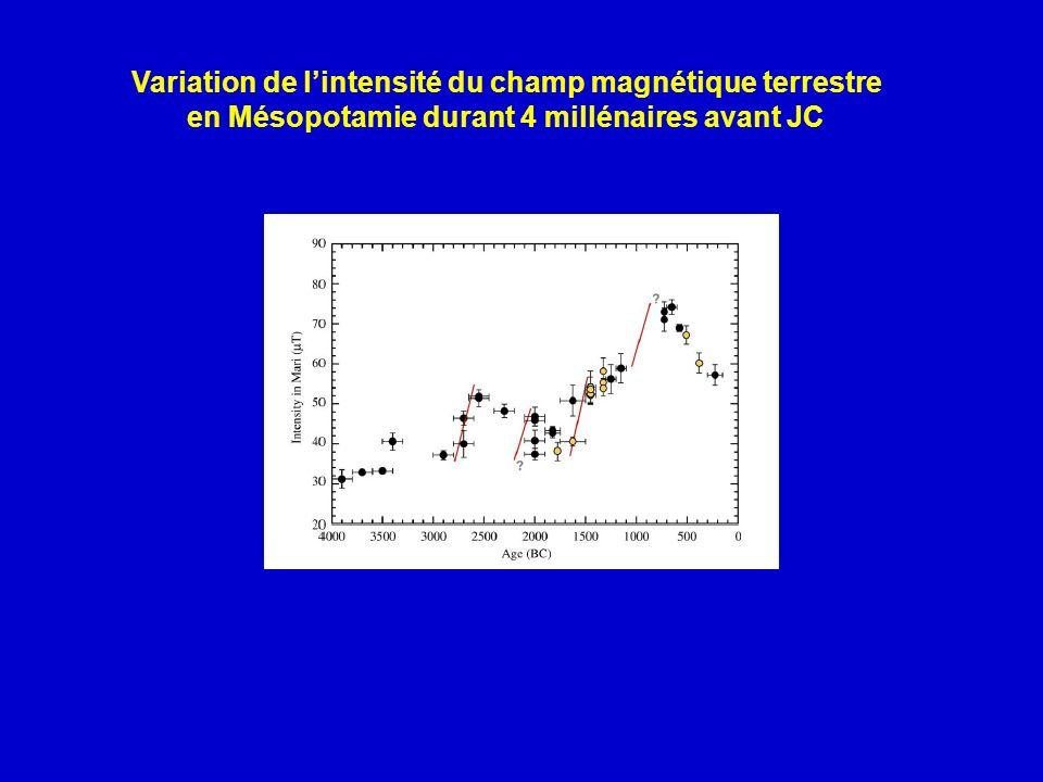 Variation de lintensité du champ magnétique terrestre en Mésopotamie durant 4 millénaires avant JC