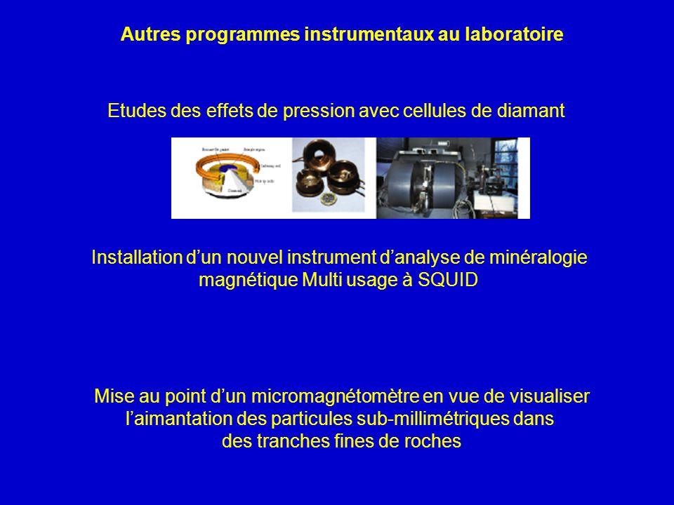 Autres programmes instrumentaux au laboratoire Etudes des effets de pression avec cellules de diamant Installation dun nouvel instrument danalyse de m