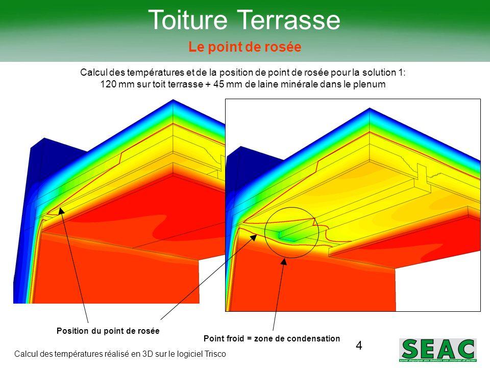 4 Toiture Terrasse Le point de rosée Calcul des températures et de la position de point de rosée pour la solution 1: 120 mm sur toit terrasse + 45 mm