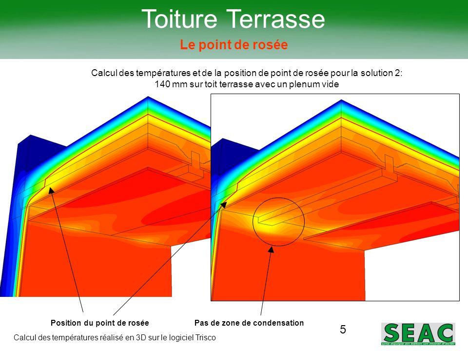 5 Toiture Terrasse Le point de rosée Calcul des températures et de la position de point de rosée pour la solution 2: 140 mm sur toit terrasse avec un
