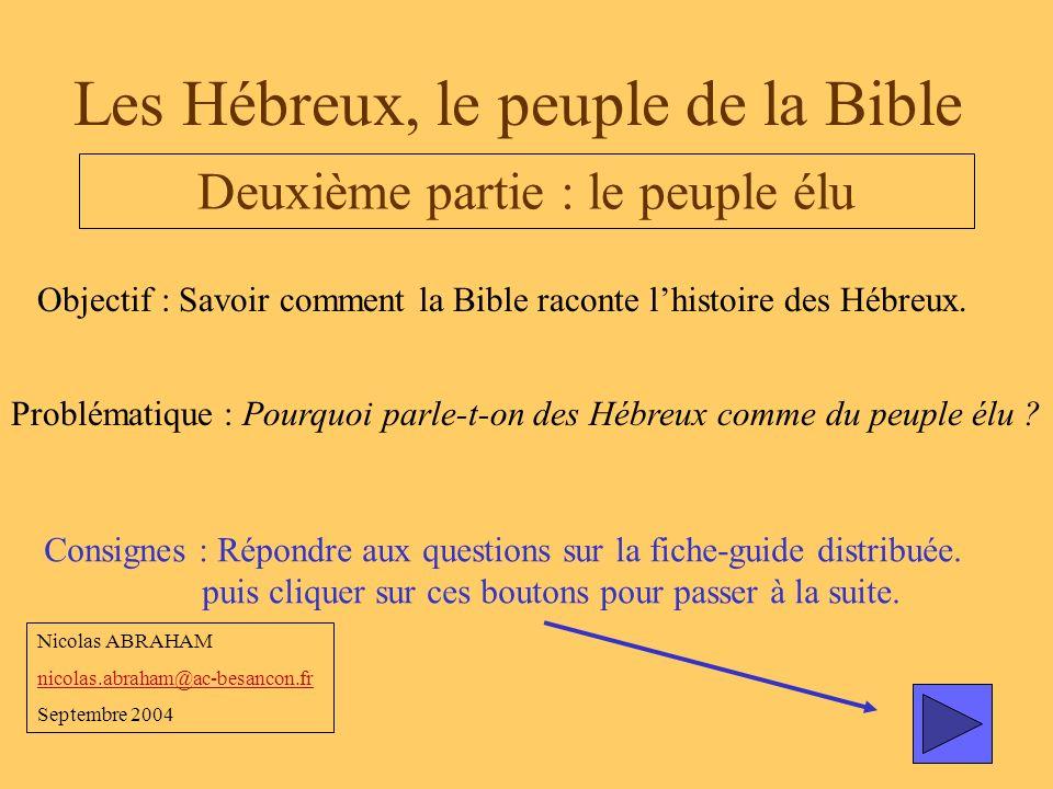 Les Hébreux, le peuple de la Bible Deuxième partie : le peuple élu Objectif : Savoir comment la Bible raconte lhistoire des Hébreux. Problématique : P