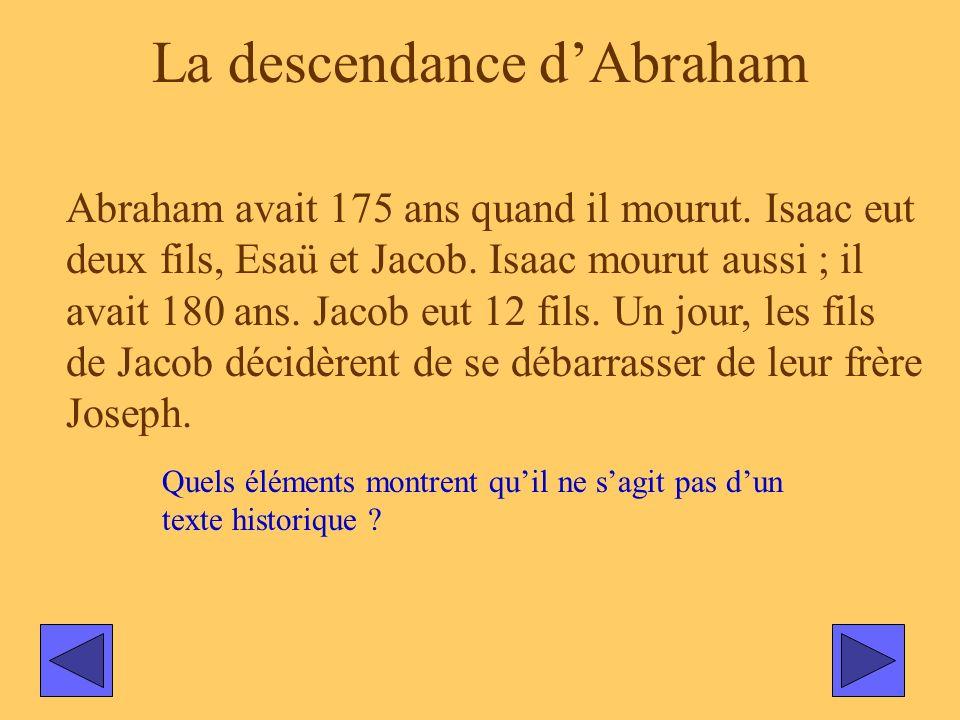 La descendance dAbraham Abraham avait 175 ans quand il mourut. Isaac eut deux fils, Esaü et Jacob. Isaac mourut aussi ; il avait 180 ans. Jacob eut 12