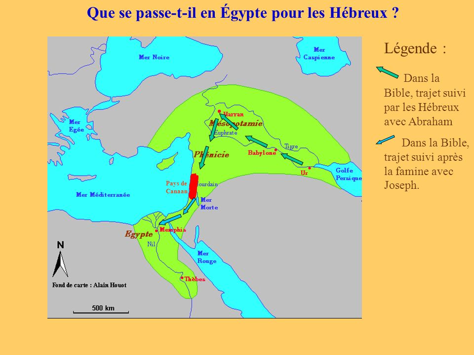 Que se passe-t-il en Égypte pour les Hébreux ? Pays de Canaan Légende : Dans la Bible, trajet suivi par les Hébreux avec Abraham Dans la Bible, trajet